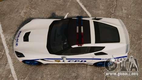 Chevrolet Corvette C7 Stingray 2014 Police para GTA 4 visión correcta