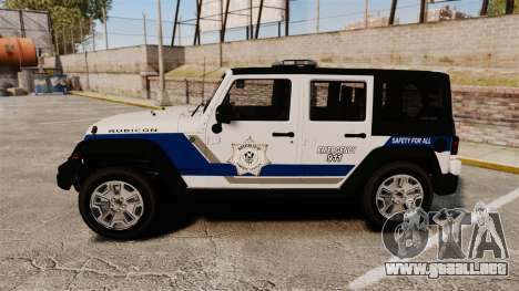 Jeep Wrangler Rubicon Police 2013 [ELS] para GTA 4 left