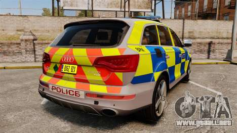 Audi Q7 Metropolitan Police [ELS] para GTA 4 Vista posterior izquierda