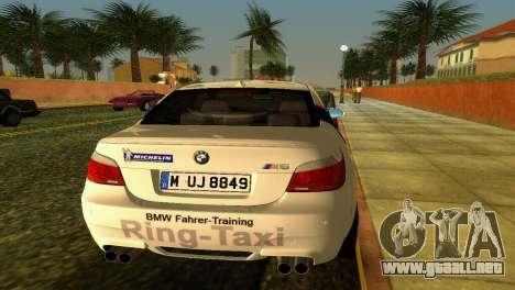 BMW M5 (E60) 2009 Nurburgring Ring Taxi para GTA Vice City vista posterior