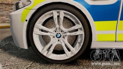 BMW M5 Marked Police [ELS] para GTA 4 vista hacia atrás