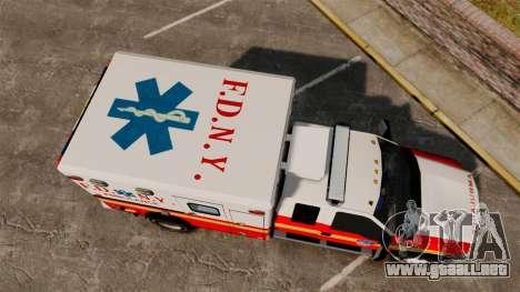 Ford F-350 2013 FDNY Ambulance [ELS] para GTA 4 visión correcta
