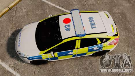 Ford Focus 2013 Uk Police [ELS] para GTA 4 visión correcta