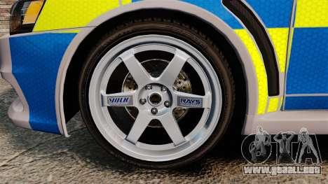 Mitsubishi Lancer Evolution X Police [ELS] para GTA 4 vista hacia atrás