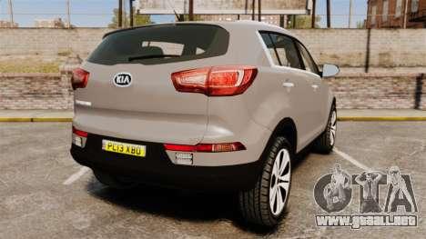 Kia Sportage Unmarked Police [ELS] para GTA 4 Vista posterior izquierda