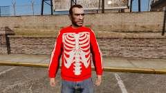Suéter rojo-esqueleto -