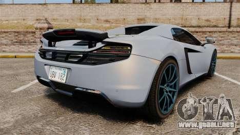 McLaren MP4-12C Spider 2013 para GTA 4 Vista posterior izquierda
