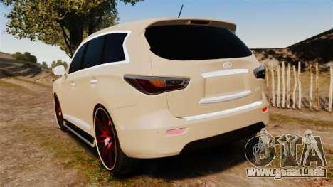 Infiniti JX 2013 para GTA 4 Vista posterior izquierda