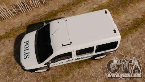 Ford Transit Connect Turkish Police [ELS] v2.0 para GTA 4 visión correcta