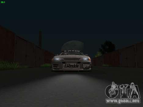 Nissan Skyline BNR32 para GTA San Andreas vista hacia atrás