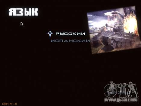 Menú de World of Tanks para GTA San Andreas octavo de pantalla