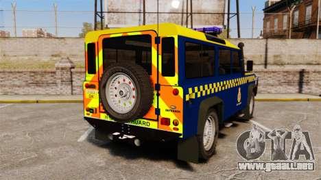 Land Rover Defender HM Coastguard [ELS] para GTA 4 Vista posterior izquierda