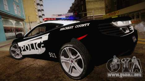 McLaren MP4-12C Police Car para GTA San Andreas left