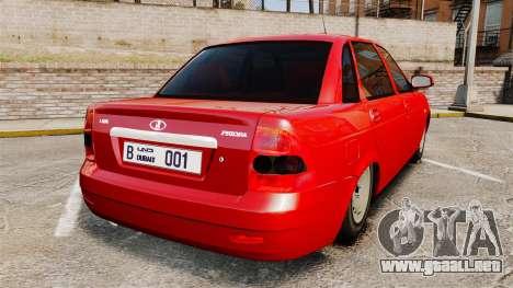 VAZ-2170 de Dubai para GTA 4 Vista posterior izquierda