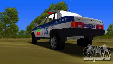 VAZ 21099 milicia para GTA Vice City vista posterior
