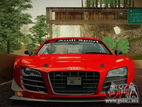Audi R8 LMS Ultra W-Racing Team Vinyls para GTA San Andreas vista posterior izquierda