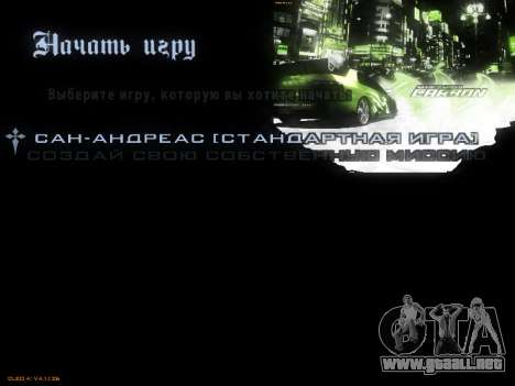 Menú de NFS para GTA San Andreas octavo de pantalla