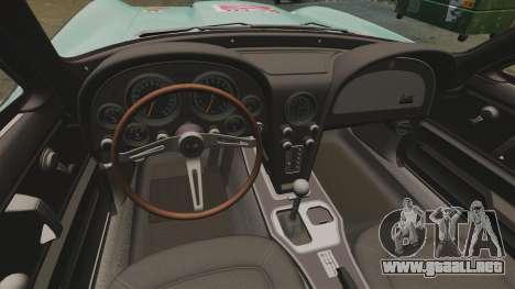 Chevrolet Corvette C2 1967 para GTA 4 vista hacia atrás