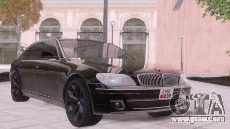 BMW 750Li E66 para visión interna GTA San Andreas