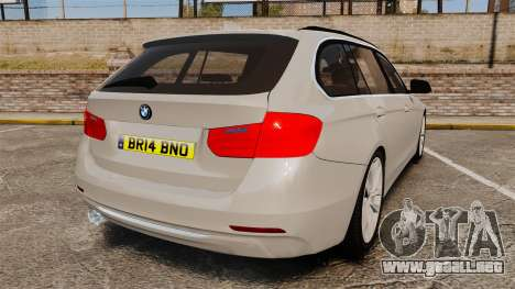 BMW 330d Touring (F31) 2014 Unmarked Police ELS para GTA 4 Vista posterior izquierda