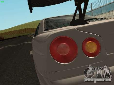 Nissan Skyline BNR34 para GTA San Andreas vista hacia atrás
