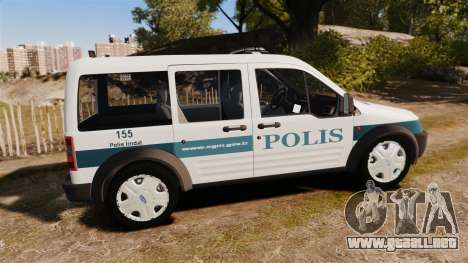 Ford Transit Connect Turkish Police [ELS] v2.0 para GTA 4 left