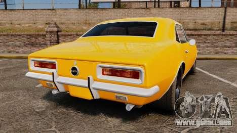 Chevrolet Camaro SS 1967 para GTA 4 Vista posterior izquierda