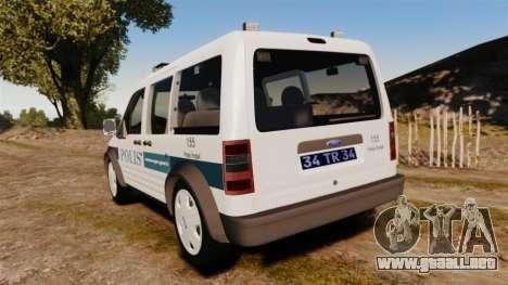 Ford Transit Connect Turkish Police [ELS] v2.0 para GTA 4 Vista posterior izquierda
