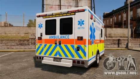 GMC Savana 2005 Ambulance [ELS] para GTA 4 Vista posterior izquierda