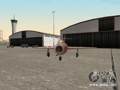 MiG 15 Bis para GTA San Andreas vista posterior izquierda