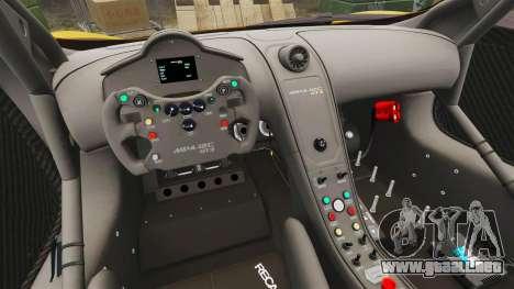 McLaren MP4-12C GT3 para GTA 4 vista interior