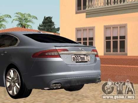 Jaguar XFR 2010 para GTA San Andreas vista posterior izquierda