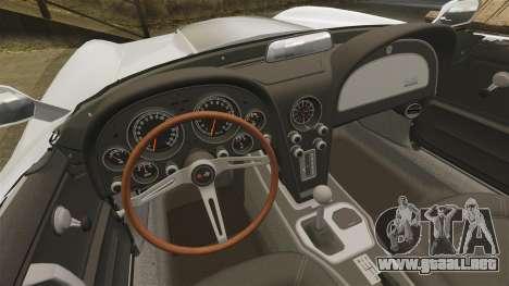 Chevrolet Corvette Stingray para GTA 4 vista hacia atrás