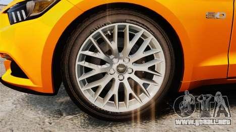 Ford Mustang GT 2015 v2.0 para GTA 4 vista hacia atrás