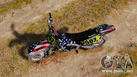 Kawasaki KX250F USA para GTA 4 visión correcta