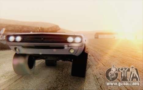 Dodge Challenger 1971 Aftermix para GTA San Andreas vista posterior izquierda