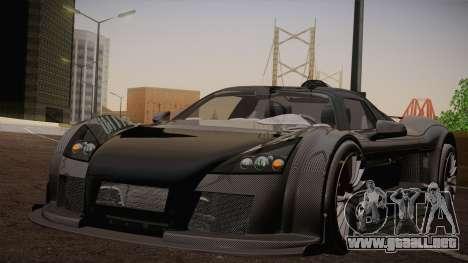 Gumpert Apollo Sport V10 para GTA San Andreas vista hacia atrás