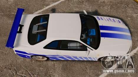 Nissan Skyline GT-R R34 V-Spec 1999 para GTA 4 visión correcta