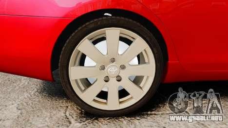 Toyota Camry para GTA 4 vista hacia atrás