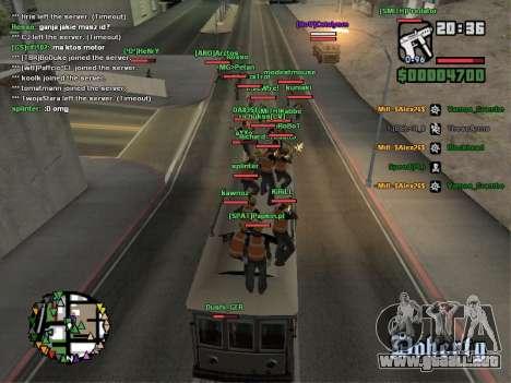 SA-MP 0.3z para GTA San Andreas octavo de pantalla
