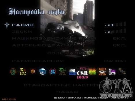 Menú de NFS para GTA San Andreas tercera pantalla