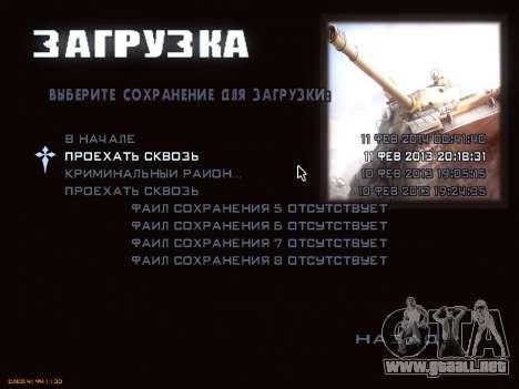 Menú de World of Tanks para GTA San Andreas sucesivamente de pantalla