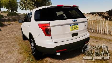 Ford Explorer Sport 2014 para GTA 4 Vista posterior izquierda