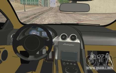 Lamborghini Reventon Police Car para GTA San Andreas vista posterior izquierda