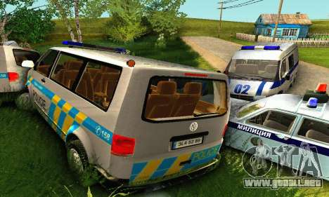Volkswagen Transporter Policie para vista inferior GTA San Andreas