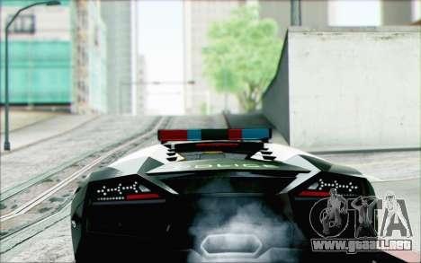 Lamborghini Reventon Police Car para GTA San Andreas left
