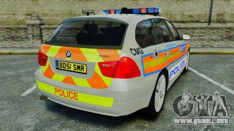BMW 330i Touring Metropolitan Police [ELS] para GTA 4 Vista posterior izquierda