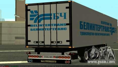 Trailer BELINTERTRANS para GTA San Andreas vista posterior izquierda