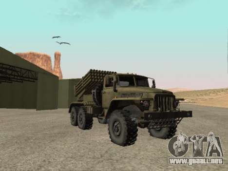 Ural 375 BM-21 para GTA San Andreas vista posterior izquierda