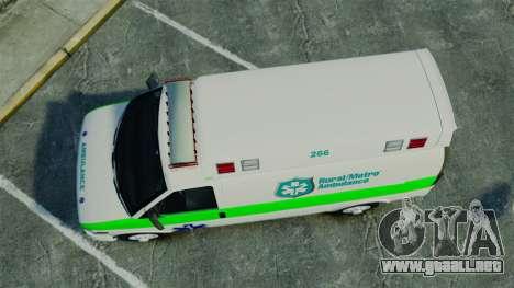 Vapid Speedo Rural Metro EMS [ELS] para GTA 4 visión correcta
